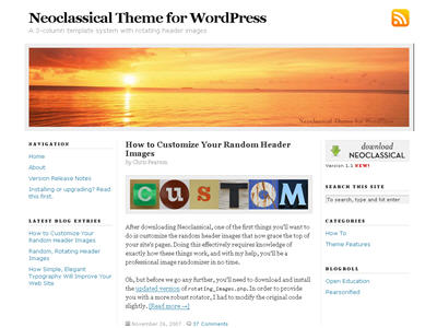 Neoclassical WordPress theme thumbnail