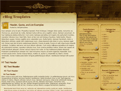 Click to enlarge Aspire Blogger template