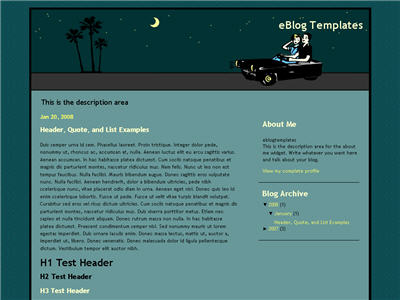 Click to enlarge Drivin to LA Blogger template