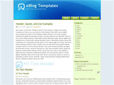 Click to enlarge Glossy Blue Blogger template