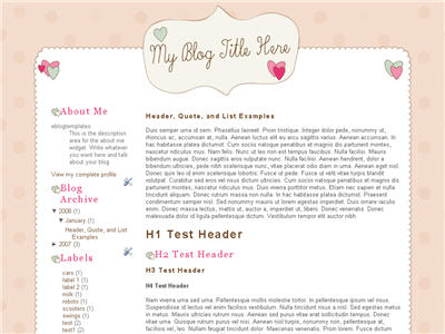 Click to enlarge Quirky Valentine Blogger template