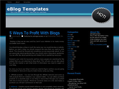 Click to enlarge Black n Blue Blogger template