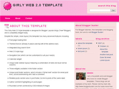 Girly Web 2.0 Blogger template thumbnail