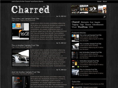 Charred WordPress theme thumbnail