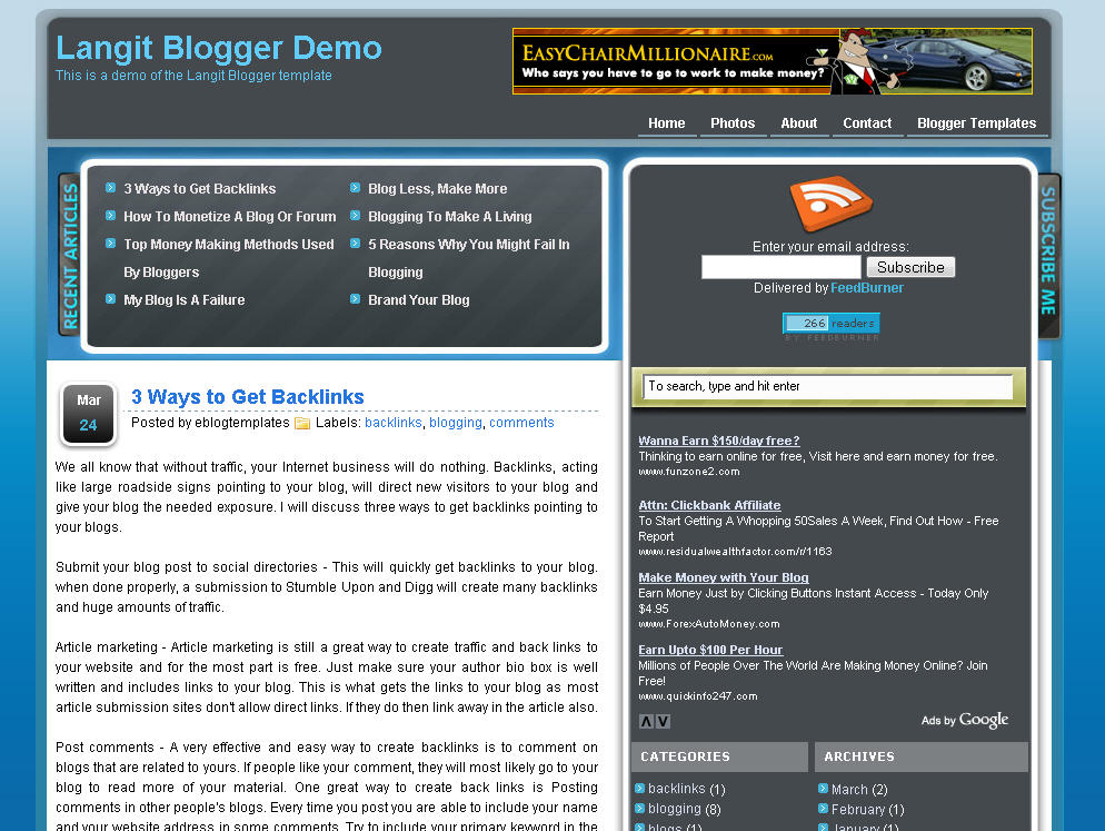 Langit Blogger Template | eBlog Templates