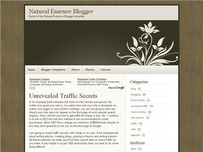 Click to enlarge Natural Essence Blogger template