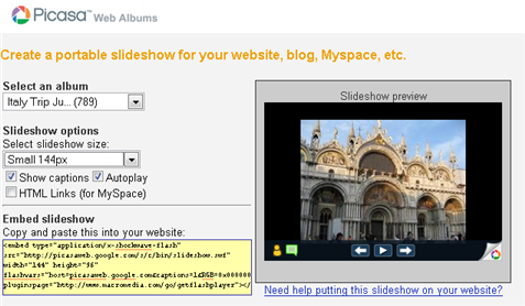 picasa web blog slideshow widget