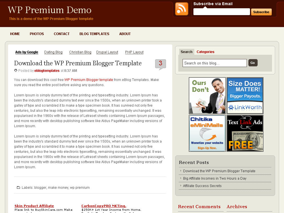 Wp premium blogger template eblog templates click to enlarge wp premium blogger template maxwellsz