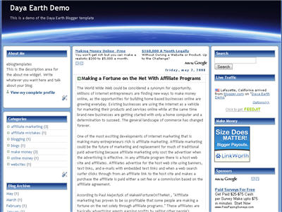 Click to enlarge Daya Earth Blogger template