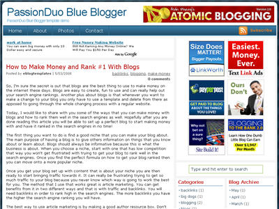 Click to enlarge PassionDuo Blue Blogger template