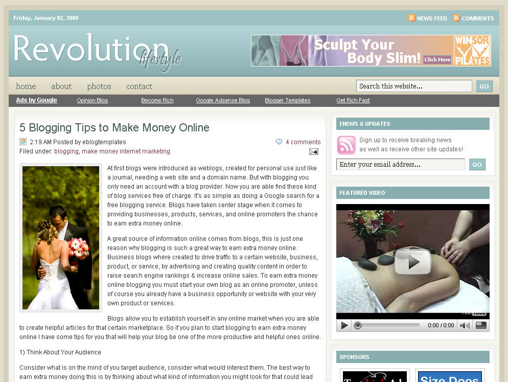 revolution lifestyle blogger template click to enlarge