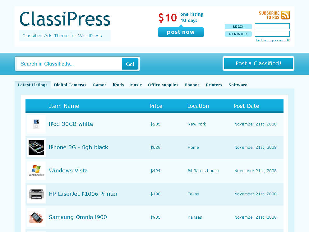 WordPress Classified Ads Theme - ClassiPress | eBlog Templates
